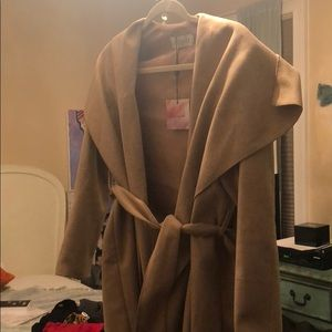 NWT chicwish tan belt tie coat